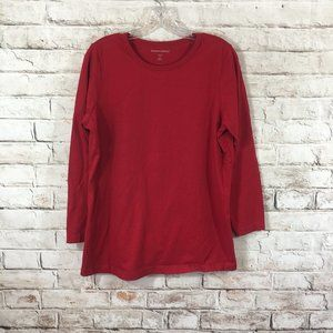 Woman Within 100% Cotton Tee Shirt Red Size 14/16